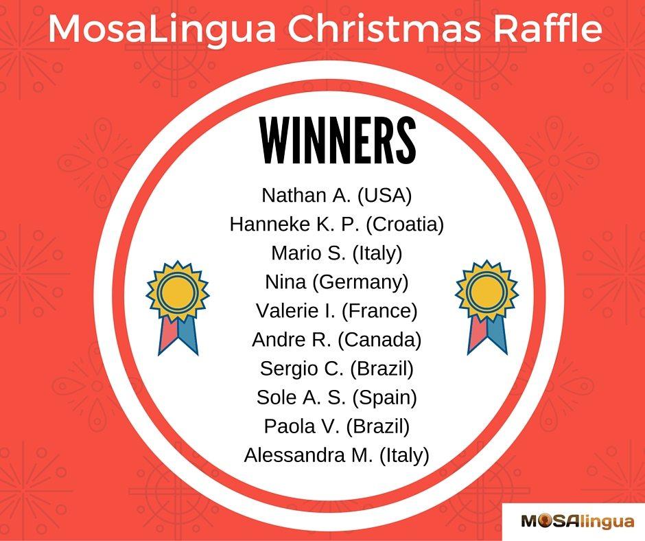 MosaLingua Christmas Raffle