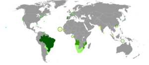 """Map of the portuguese language in the world"" da Wikipedia (Licenza Creative Commons)"