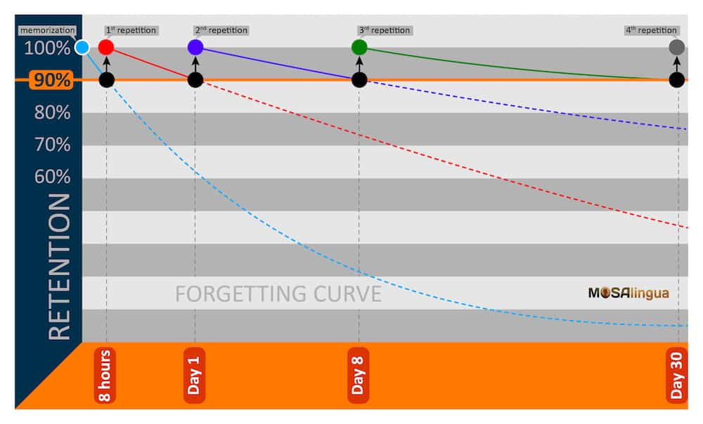 Spaced repetition system diagram of how it works with forgetting curves