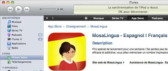 MosaLingua Espagnol est disponible en téléchargement sur l'App Store Image