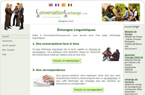 find conversation partners with conversation exchange