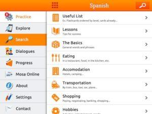 Design de MosaLingua pour iPad et tablettes Android