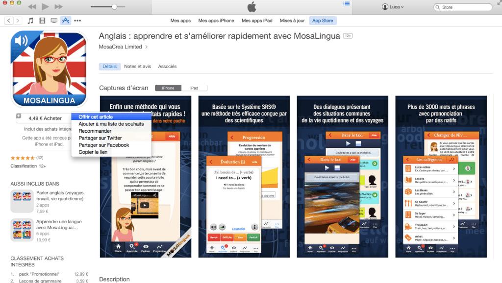 Offrir MosaLingua sur iTunes via PC