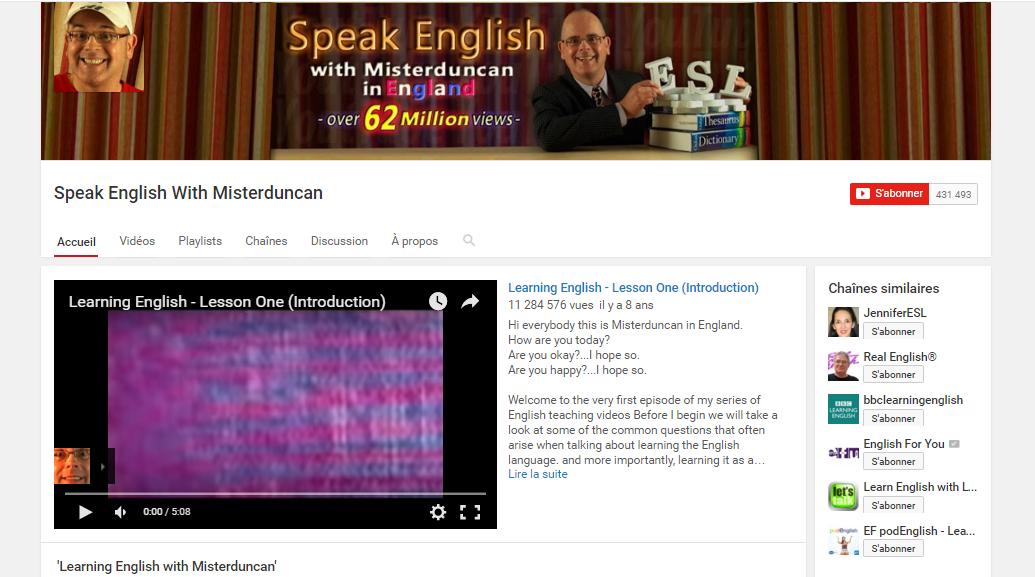 Chaînes Youtube pour apprendre l'anglais : MisterDuncan