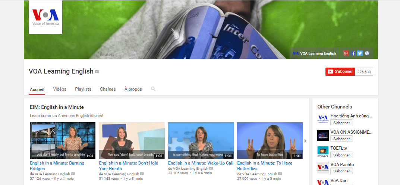 Chaînes Youtube pour apprendre l'anglais : VOA