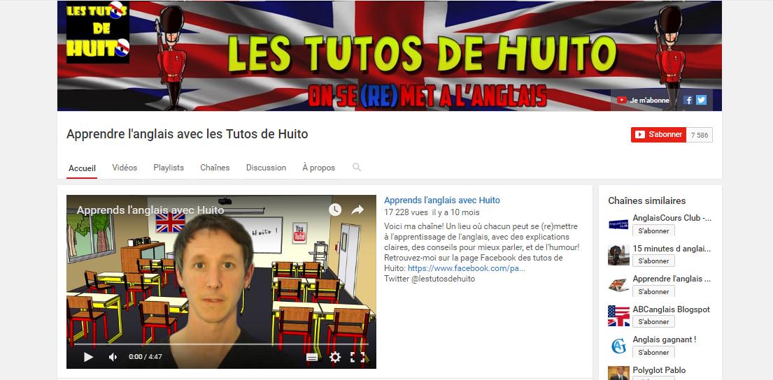 Chaînes Youtube pour apprendre l'anglais : Huito