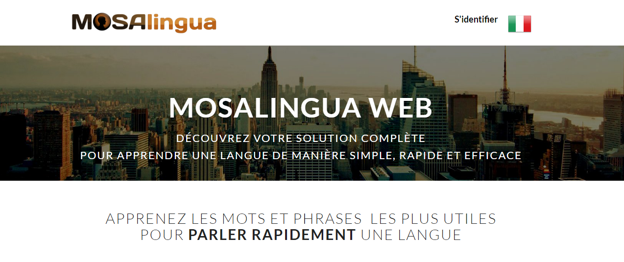Cours d'anglais en ligne gratuits : MosaLingua web